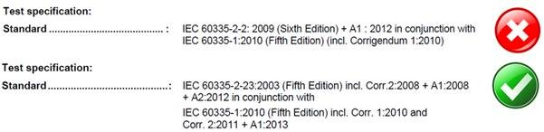 Shows that the corretc report will have IEC 60335-1 Edition 5 with Amendment 1