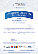 EESS Recognised Laboratory Certificate